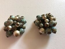 DEMARIO Sublime Faux Turquoise & Glass Baroque Pearls Clip On Earrings