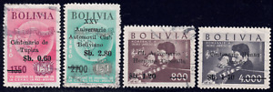 1966 Bolivia SC# C263-C267 - F - Anthem - Overprinted - 4 Different Stamps -Used
