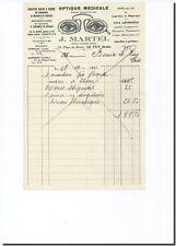 Facture - J MARTEL Optique médicale à Le PUY 1933