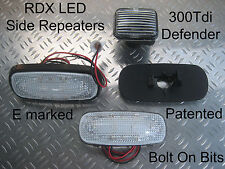 RDX LED CLEAR Side Repeaters LandRover Defender 90/110 1994 to 1998 300 Tdi ONLY