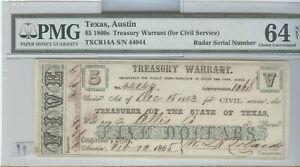 1860's STATE OF TEXAS $5 TREASURY WARRANT