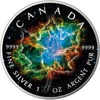 $5 Canada 1 Oz Silver Maple Leaf Crab Nebula Space Leaf .9999 Fine Box & Cap