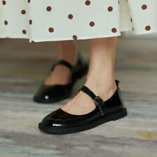 Womens Faux Leather Strap Buckle Mary Jane Shoes Casual College Style Flats