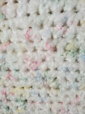 White w/Pastel Hints Soft Crocheted Afghan Blanket Throw 4 Baby~Woman Cave 72x32