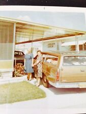 Vintage Color PHOTO 2 older woman holding hands next to station wagon
