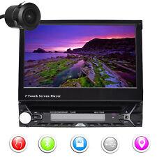 "Camera+7"" inch Flip Up Car DVD Player 1Din Radio Stereo GPS Navi Unit BT USB RDS"