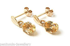 9ct Gold Citrine oval drop dangly Earrings Gift Boxed Made in UK