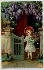 Augurale Bambina con Fiori Rose rosse Glicini con Oro a rilievo PC Viaggiata1913
