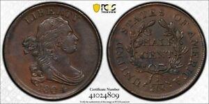 1804 1/2 Cent PCGS AU58 Plain 4 No Stems