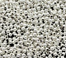 3000 Versilbert Glatt Rund Spacer Perlen Beads 2mm