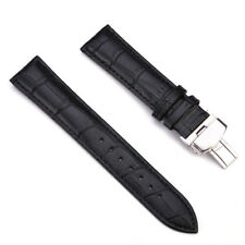 Genuine Leather Stainless Steel Butterfly Clasp Buckle Watch Strap Band 18-22mm