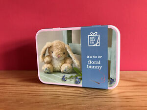 Floral Bunny Sewing Kit, Gift in a Tin - Stuff & Sew Floppy Eared Bunny Soft Toy