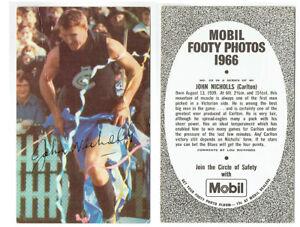 Mobil 1966 VFL footy photos card #29 John Nicholls CARLTON BLUES GC