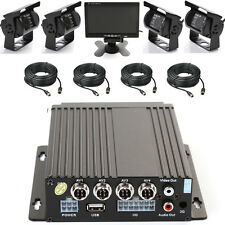 """4CH Auto Mobile DVR 128 SD Card Video Recorder + 4 IR Kamera + Cable + 7"""" Screen"""