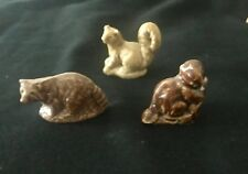 Wade Figurines 3 Forest Animals -Beaver Raccoon Squirrel Red Rose Tea