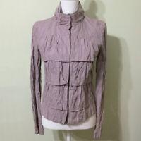 LOFT Tiered Jacket Mauve Size 4 Women's Lightweight Layered Crinkle Purple