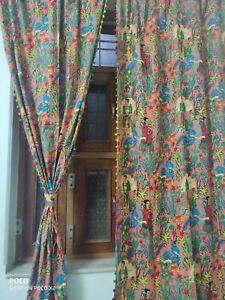 Indian Frida Khalo Curtain With Pom-Pom Home Décor Floral Rod Pocket Curtains AU