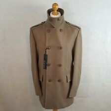 M&S Autograph Mens Military Coat Caramel Size 38 Medium Wool Overcoat RRP £129