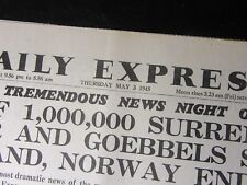 Daily Express: May 3rd 1945 HITLER SUICIDE BERLIN FALLS - WW2 Birthday Newspaper