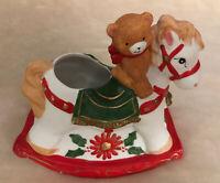 """Ceramic Rocking Horse Pony Christmas Candle Holder 5 1/2"""" High"""