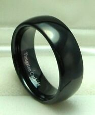 Men 8mm BLACK TUNGSTEN CARBIDE comfort fit ring size 10 or 10.5