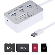 1Stk Aluminium 3 Port USB 3.0 Hub MS SD M2 TF Speicherkartenleser Card Reader