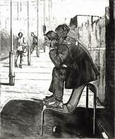 JILL SPANNER Original Etching FIGURES AT TRAIN STATION - CONTEMPORARY ART