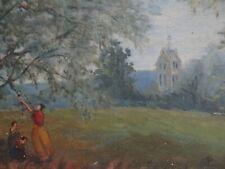 Ancien tableau huile paysage animé château cueillette style romantique