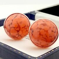 Vintage Coral Orange Marble Glass - Large Round Rose Gold Tone Cufflinks