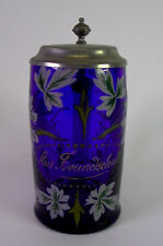 Blauer batidora/bierkrug con zinnmontierung-por amistad