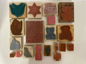Lot of 19 Wooden Mounted Rubber Stamps - Cactus, Star, Bear, Postal & More