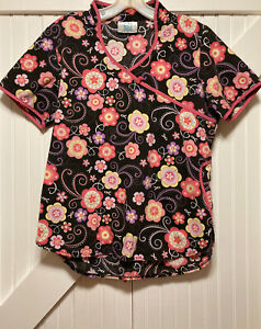 Adar Uniforms Scrub Top Floral Design Size Small S