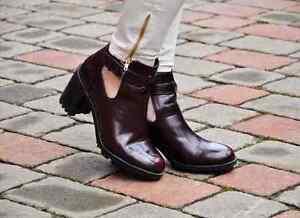Zara Red Burgundy Faux Boots SIZE UK 7 EU 41