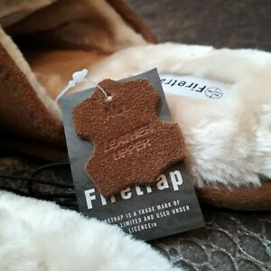 OFFICIAL FIRETRAP Mens Suede Fur Slip on Slippers Tan Mules Moccasin NEW 7 9