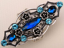 Full finger knuckle strech armor ring jewelry gifts for women RF13 silver blue