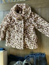 Little Girls Gymboree Pink And Brown Leopard Faux Fur Coat Size Small (5-6)