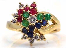 Diamond, Ruby, Sapphire, Emerald Mixed Gemstone Ring 18k Yellow Gold
