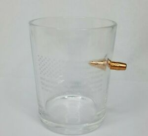 8oz Whiskey Glass with Bullet 2nd amendment printed