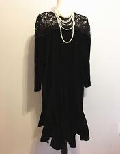 New Women's Black Velvet Banquet Dress Long Sleeve Lotus Leaf Dress SZ L