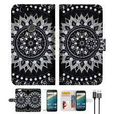 Black Aztec Tribal Wallet Case Cover for Google Pixel A005