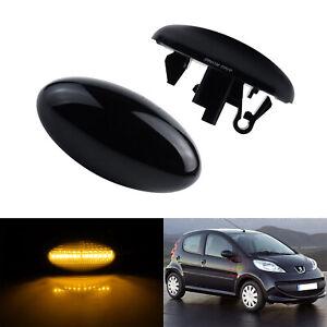 1 Paire Clignotant Répétiteur LED lentille Noir Pour Peugeot 107 108 307 407 607