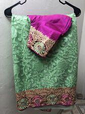 Saree Sari Indian/Pakistani Designer Party Wear NET With stitched BlousE 34