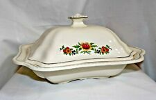 Vintage Steubenville Ivory Covered Vegetable Dish Peach Orange Yellow Flowers