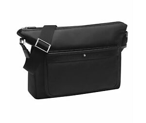 MONTBLANC 116795 BLACK SARTORIAL JET MESSENGER BAG LEATHER NYLON NEW NO BOX