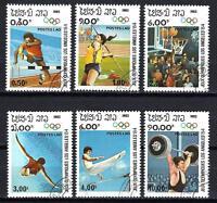 JO verano Laos (27) serie completo de 6 sellos matasellados