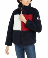 Tommy Hilfiger Womens Colorblocked Logo Shearling Jacket Navy Size Small
