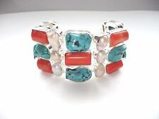 "AB Chunky Turquoise Red Coral Biwa Pearl Bracelet Wrist Chain 925 Silver 8""-8.5"""