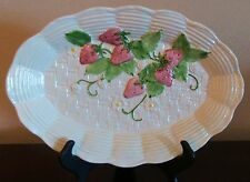 "Bassano Italy 13"" Oval Serving Platter Embossed Strawberry & Lattice with Leaves"