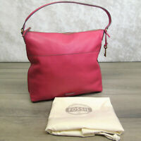 Fossil All Leather HOBO HANDBAG Pink Raspberry Shoulder Purse Pebbled Soft NWOT!