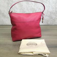 Fossil All Leather HOBO HANDBAG Pink Raspberry Shoulder Purse Pebbled Soft NWOT!